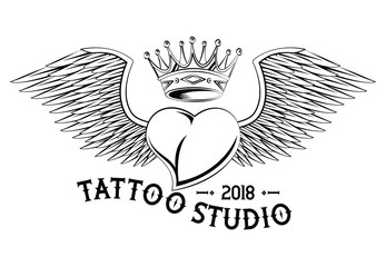 Old school tattooheart with wings drawing design vector illustration graphic