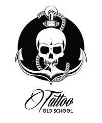 Old school tattoo devil skull drawing design vector illustration graphic