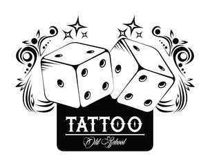 Old school tattoo with dices drawing design vector illustration graphic