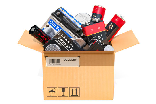 Cardboard box, parcel with different batteries. 3D rendering