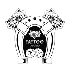 Old school tattoo with horseshoe drawing design vector illustration graphic