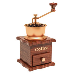 Manual coffee grinder with coffee beans, 3D rendering