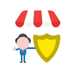 Vector illustration businessman character under shop store awning, holding guard shield and showing thumbs up