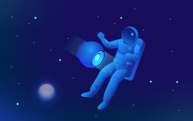 Isometric web banner of explore the world of space concept. Astronaut in outer space, discovery. Vector illustration