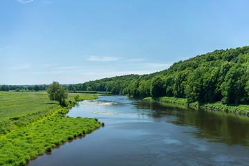 Foto auf Leinwand Fluss Die Elbe in der Nähe von Grimma in Sachsen