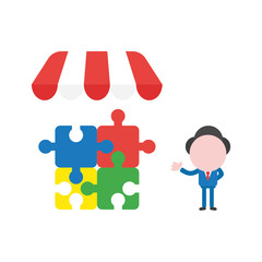 Vector illustration businessman character with four connected jigsaw puzzle pieces under shop sotre awning