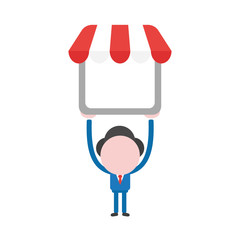 Vector illustration businessman character holding up shop store with awning