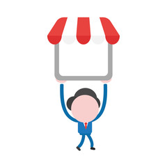 Vector illustration businessman character walking and holding up shop store with awning
