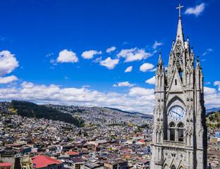 Ecuador, panoramic view of Quito from majestic Basilica del Voto Nacional clock tower
