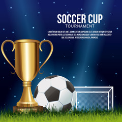 Soccer cup banner with information vector illustration graphic design