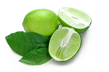 Lime. Fresh fruit with leaf isolated on white background