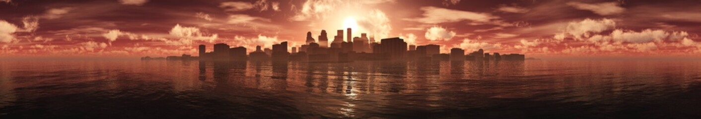 panorama of a sunset over a sea city, a city at sunset over the sea, 3D rendering