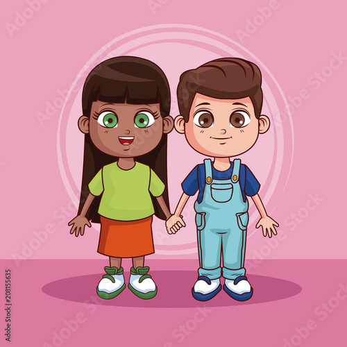 Cute Couple Of Kids Cartoons Over Colorful Background Vector