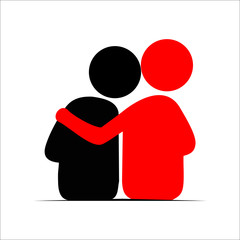 Friends hug each other. Vector Illustration icon.