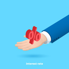 percent icon on a man's hand in a business suit, isometric image