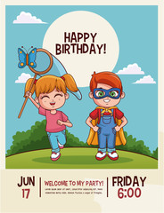Happy birthday cute kids cartoons card vector illustration graphic design