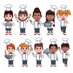 Cute chef kids cartoons over white background vector illustration graphic design