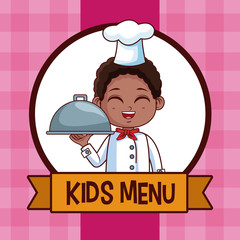 Cute boy chef cartoon kids menu vector illustration graphic design