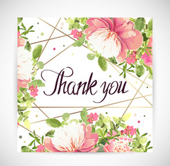 Floral template greeting card. Vector illustration