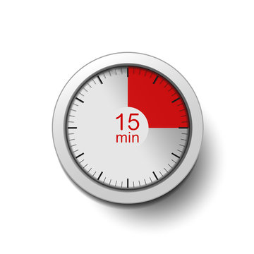 Time interval of 15 minutes, isolated on a white background, with good detail in the form of shadows and a time interval (red color) vector illustration. 15-minute break, coffee break