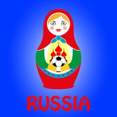 Традиционная русская матрешка с футбольным мячом. Векторная иллюстрация к чемпионату мира по футболу.