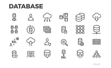 Database icons. Server, data processing, cloud technologies. Editable line.