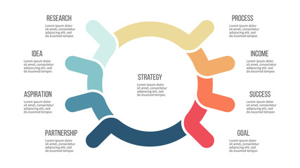 Business infographic. Organization chart with 8 options. Vector template.