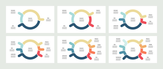 Business infographics. Organization charts with 3, 4, 5, 6, 7, 8 options. Vector template.