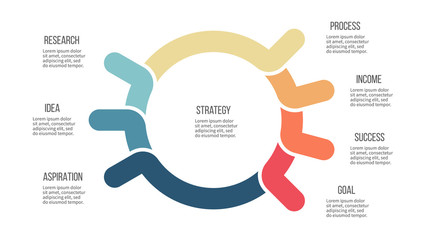 Business infographic. Organization chart with 7 options. Vector template.