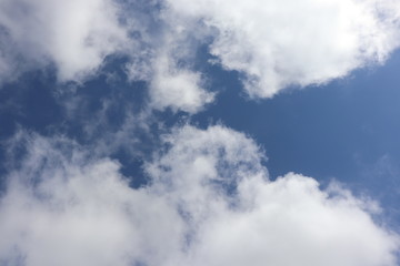 Fluffy white clouds in blue sky