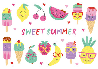 set of isolated cute ice cream and fruits - vector illustration, eps