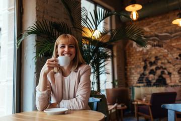 Happiness is relaxing coffee break