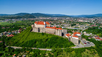 Beautiful panoramic aerial view to Palanok Castle in the city of Mukachevo.