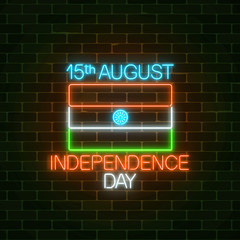 India independence day glowing neon sign with indian flag and text. National India holiday greeting card in neon style