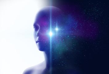 silhouette of virtual human and nebula cosmos  3d illustration Fototapete