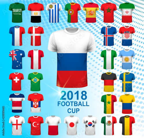 ca33ee6d055 Set of football jerseys for 2018 soccer championship cup. National flag T- Shirts. Vector,