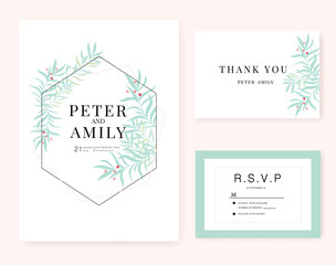Wedding card invitation set with green leaf and small red  flower vector template.