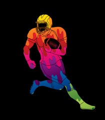 American football player action designed using colorful graphic vector