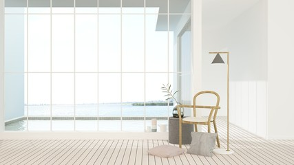 The interior minimal japanese hotel relax space and swimming pool 3d rendering - nature view background