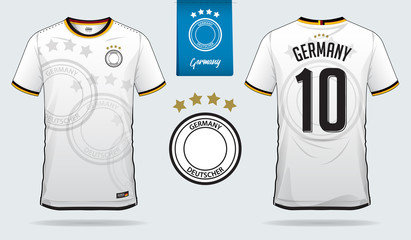 Soccer jersey or football kit template design for Germany national football team. Front and back view soccer uniform. Football t shirt mock up. Vector Illustration