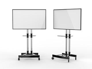 Mobile Blank White Screen TV Trolley Stand Mount Cart Exhibition LED Advertising Display. 3d render illustration. Fotobehang