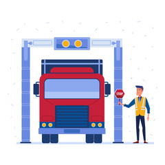 Customs truck cargo scanner. Customs inspector checks the truck with modern x-ray scanner. Concept of hitech customs point and logistics technology. Vector flat design illustration on white background
