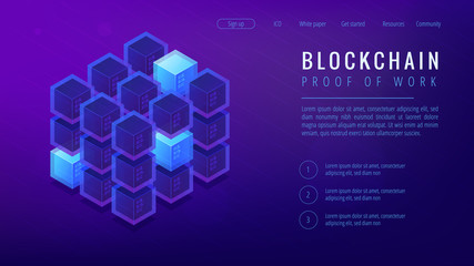 Isometric blockchain proof of work landing page concept. PoW system, cyber security protocol, blockchain algorithm, function illustration on ultra violet background. Vector 3d isometric illustration.