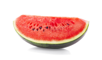 half a slice of delicious ripe watermelon isolated on white background