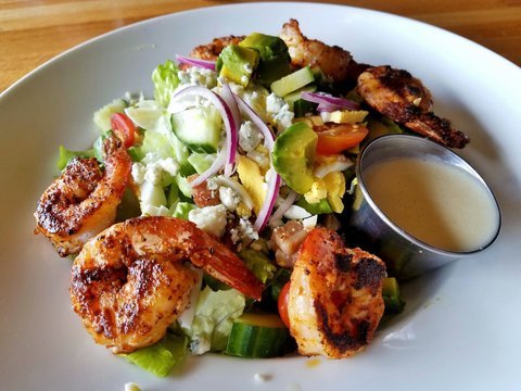 Cobb Salad Meal with Blackened Shrimp; Top View, Classic Serving Style, Nutrition, Nutrient Rich Foods, Healthy Eating, Healthy Choice Ideas; Safe Take Out Food