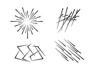 Minimalist collection of speed lines composed in different directions and shapes arranged on white background