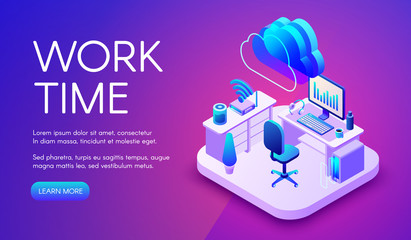 Work and cloud internet vector illustration of smart office or workplace with router connection. Cloud and wireless technology communication in computer or smartphone on purple ultra violet background