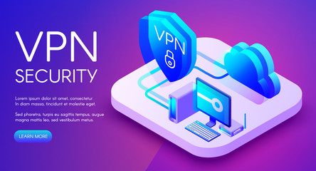 VPN security technology isometric vector illustration of digital personal data protection software. Private network and secure router access to cloud or computer on purple ultraviolet background
