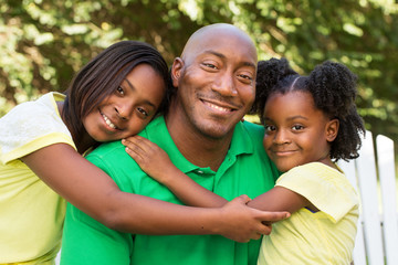 African American father and his children.