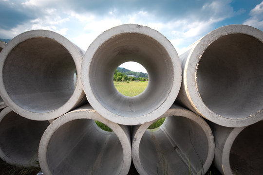 Concrete water pipe on the ground